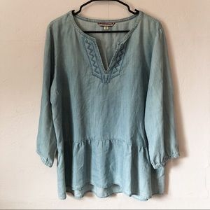 Tommy Hilfiger Chambray Peplum Top